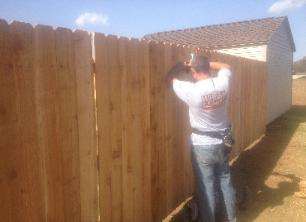 Willis Fence Company Installer Builds Wood Gate